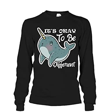 0983e893 Mazoli Narwhal Cool T Shirt Design - It's Okay to Be Different Tee Shirt  Long Sleeve