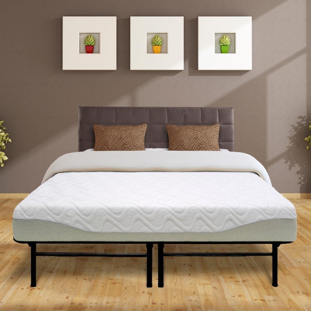 Best Price Mattress 9'' Gel-Infused Memory Foam Mattress & Dual-Use Steel Bed Frame/Foundation Set, Queen