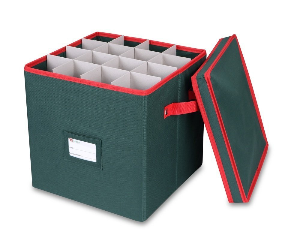 Primode Holiday Ornament Storage Box, 4 Layers, Fits 64 Ornaments Balls, Green