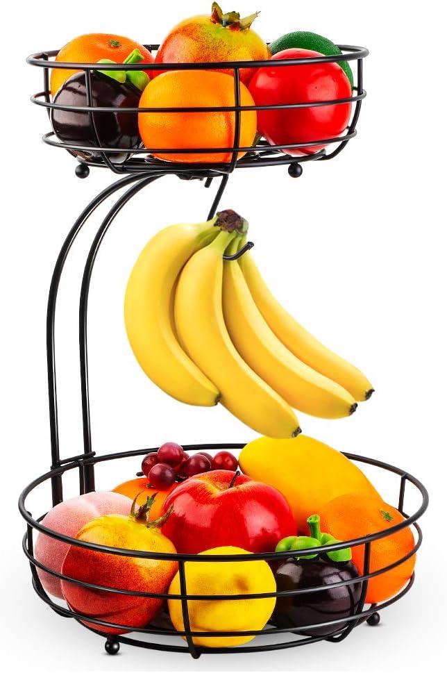 Auledio 2-Tier Countertop Fruit Vegetables Basket Bowl Storage With Banana Hanger, Black