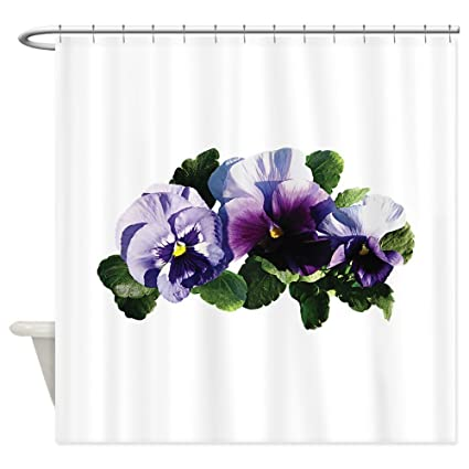 CafePress Three Purple Pansies Shower Curtain Decorative Fabric 69quot