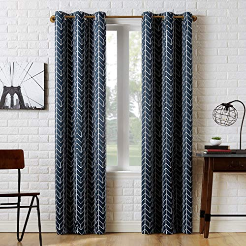 "63""x40"" Kenwood Chevron Blackout Grommet Top Curtain Panel Navy - Sun Zero"