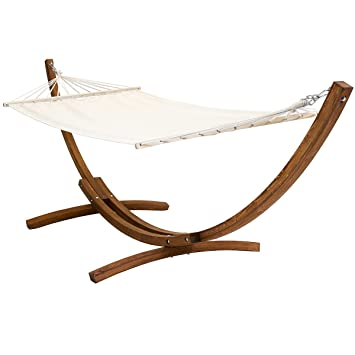 Free Standing Cream Canvas Garden Hammock With Wooden Arc Stand