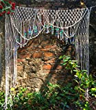 HiPlus Large Sequin Macrame Wall Hanging Tapestry- Macrame Curtains for Door,Window,Closet,Room divider Wedding Backdrop BOHO home wall decor, 59'' W x 78'' L