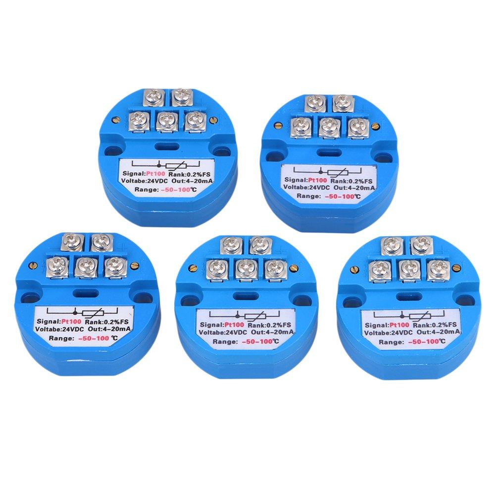 Mxfans 5xPlastic -50~100 Degree Output DC24V PT100 Temperature Sensor Transmitter 4-20mA