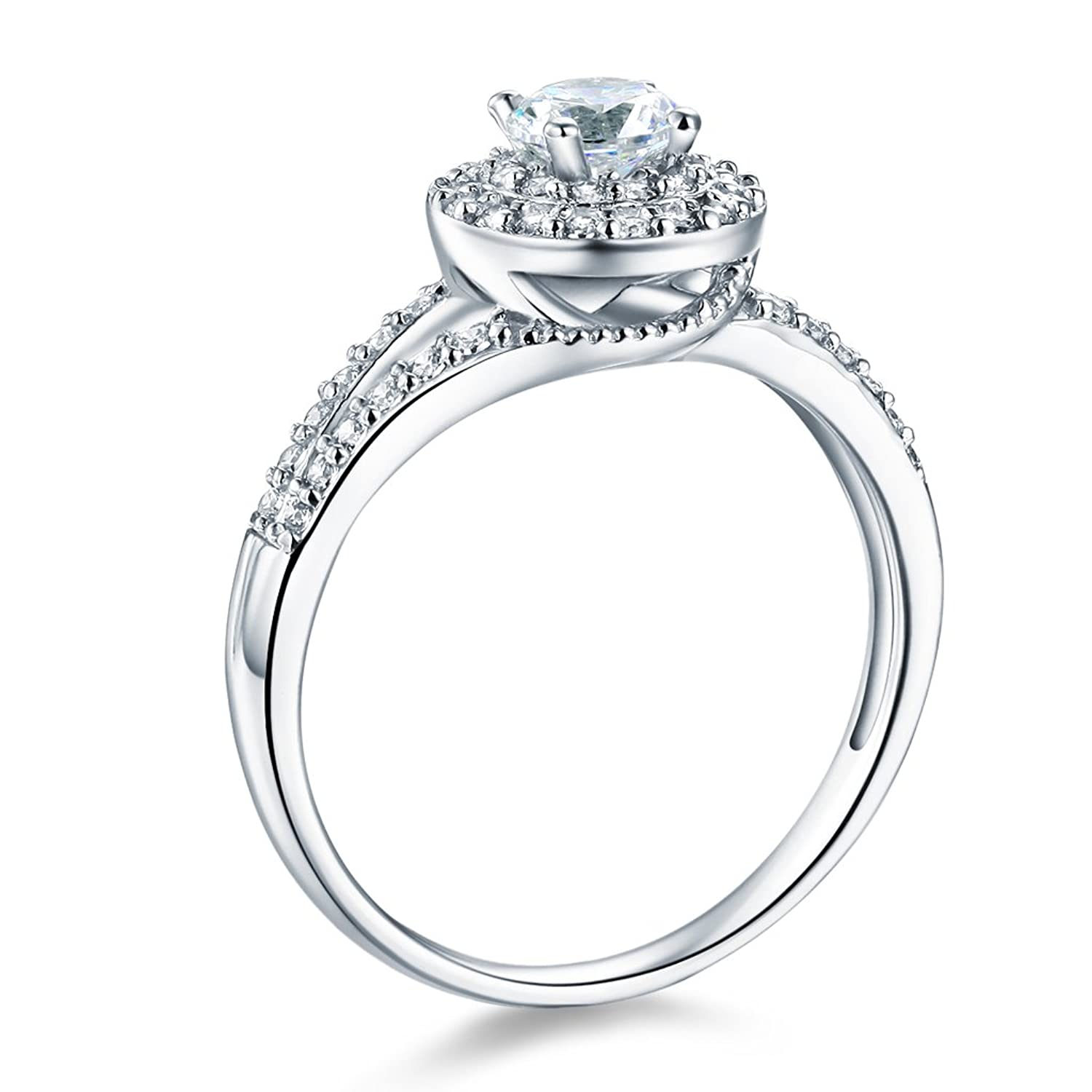 14k White Gold SOLID Wedding Engagement Ring
