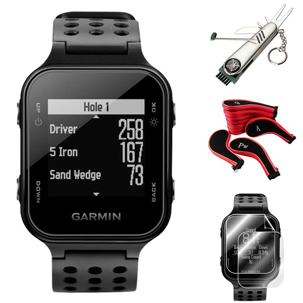Garmin Approach S20 GPS Golf Watch, Black + S20 Screen Protector (2-Pack) + 7-in-1 Multi-Function Golf Tool + Neoprene Zippered Headcover for Golf Club Iron Head Covers Set + 1 Year Extended Warranty by Garmin