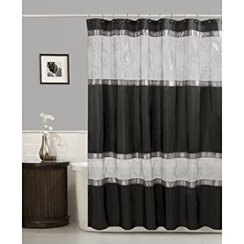 Amazon Maytex Marco Fabric Shower Curtain Black Home Kitchen