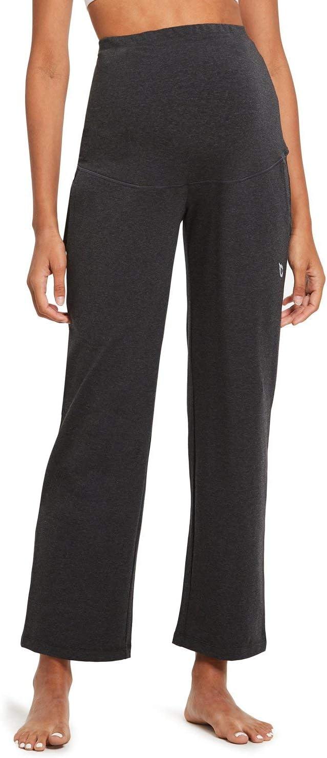 BALEAF Womens Active Yoga Sweatpants Slight Fleece Straight Open Bottom Leg Lounge Sweat Pants Pajamas Side Pocketed