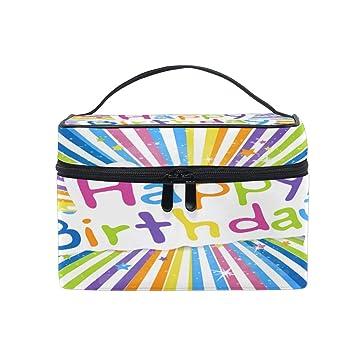 Bolsa de Maquillaje portátil Feliz cumpleaños Patrón de ...