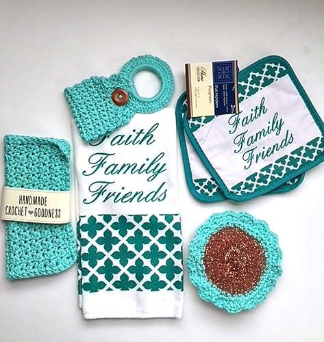 Amazon Hanging Kitchen Towel Set 6 Piece Crochet Dish Cloth Pot