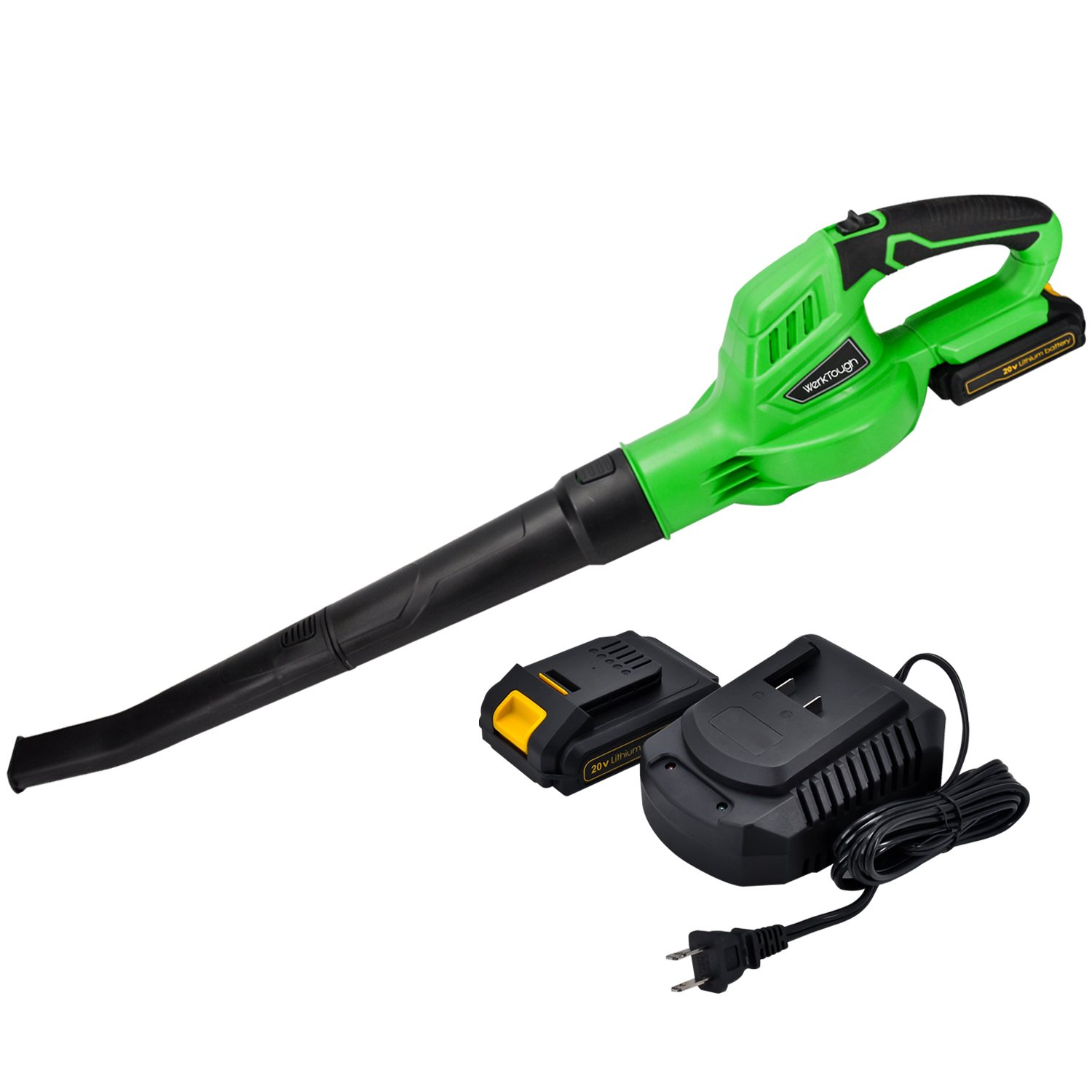 Werktough B001 Outdoor Tool 20V Li-ion Cordless Leaf Blower Sweeper 2.0 AH Battery Charger Included by Werktough (Image #1)