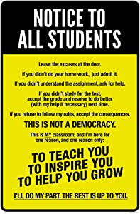 Classroom Sign Notice to All Students Warning Rules Teacher Supplies for Classroom School Decor Teaching Toddler Kids Elementary Learning Decorations Yellow Cool Wall Decor Art Print Poster 12x18