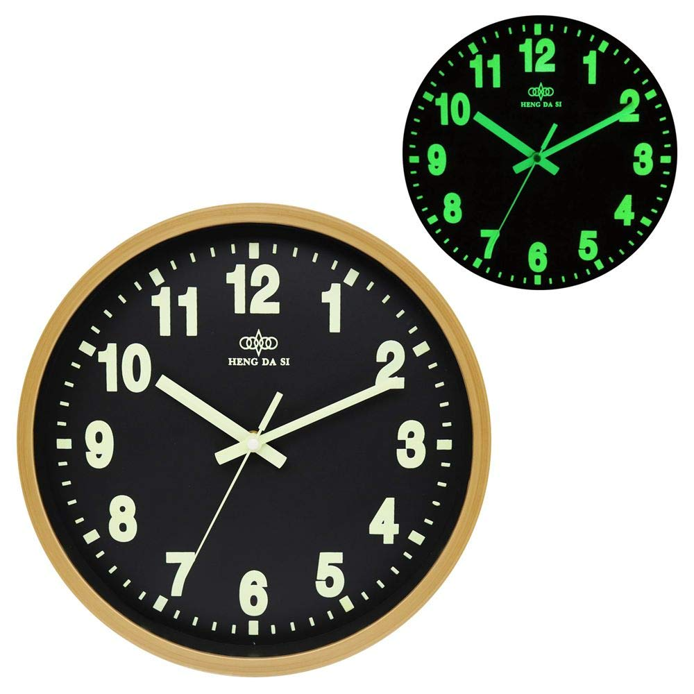 BECANOE Luminous Wall Clock Wood Grain 12 Inch Silent Non Ticking Quartz Battery Operated Round Easy to Read Home//Kitchen//Office//School Decorative Clocks
