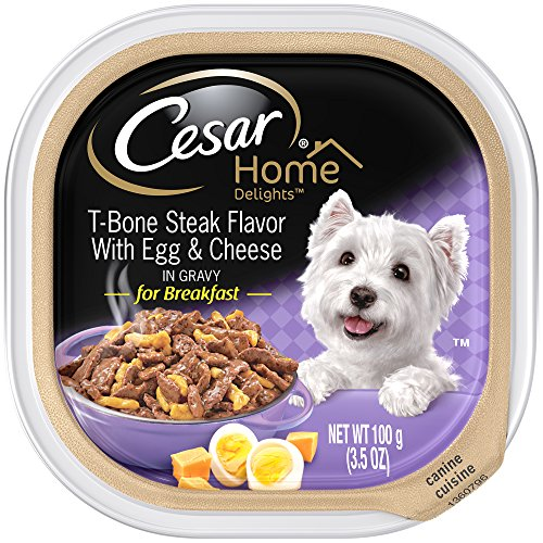 Cheese Flavor Dog Bone - Cesar HOME DELIGHTS T-Bone Steak Flavor With Egg and Cheese Wet Dog Food Trays 3.5 Ounces (Pack of 24)