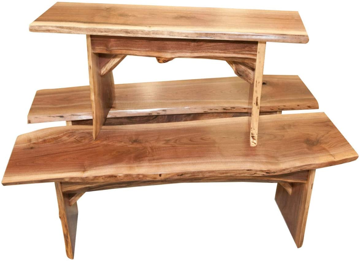 Live Edge Wooden Bench Natural Edge Wooden Slab Bench 3 Long, Walnut Wood with Clear Coat Rustic Home D/écor Furniture Solid Wood Dining Bench