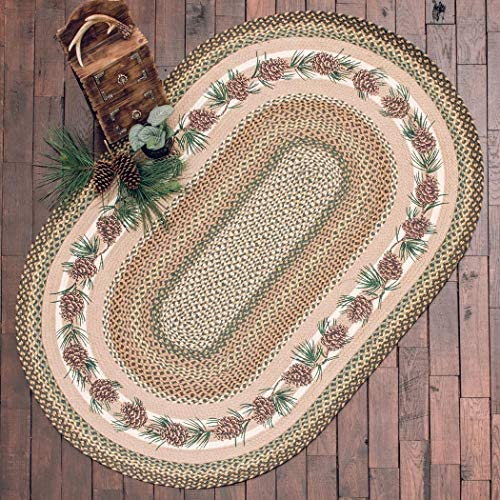 Black Forest Decor Pinecone Needles Braided Rug – 20 x 30