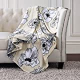 Christian Siriano Oversized Plush Throw 60'' x 70'' (Outline Floral)