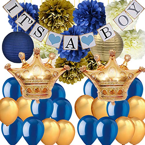 Royal Prince Baby Shower Decorations for Boy-It's A BOY Banner Tissue Pom Poms Paper Lanterns Latex Balloons with Crown Balloons for Navy Blue Baby Shower Nautical Babyshower Decor]()