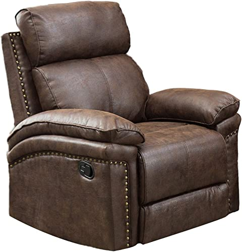 Romatlink Leather Sofa Classic Seat 1 Seat Backrest Headrest Adjusted Manually Ergonomic Lounge Chair Padded Seat Overstuffed Arms and Back Easy to Maintain Customized Fit Lifts Leg Rest