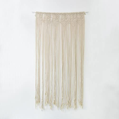cheerfullus Natural Cotton Yarn Handmade Macrame Wall Hanging Woven Tapestry Butterfly Door Curtain for Wedding Party Backdrop Decor