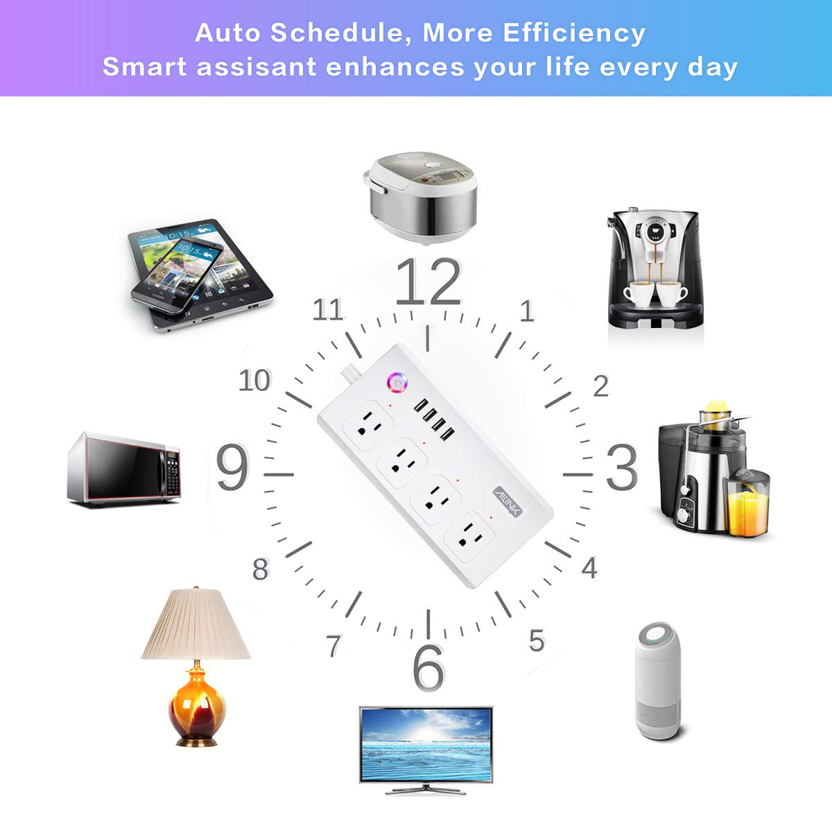 WiFi Power Strip Work with Alexa Smart Power Board AILINK Timer Schedule, Surge Protector with 4 Outlets and 4 USB Ports White by AILINK (Image #4)