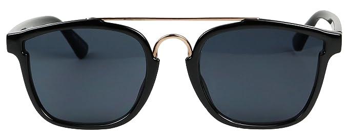 a9c6cca953f Basik Eyewear - Modern Square Shape Flat Top Double Metal Brow Bar  Sunglasses (Black w