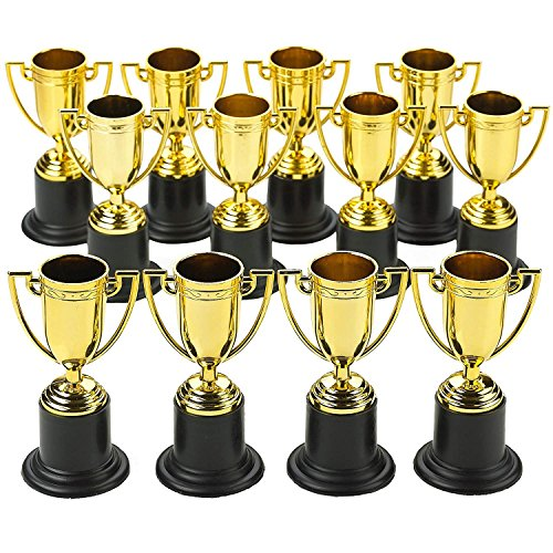 (Kicko Plastic Trophies - 24 Pack 4 Inch Cup Golden Trophies for Children, Competitions, Awards, Parties, Party Favors, Props, Rewards, Prizes, Games, School, Field Day, Boys and Girls)