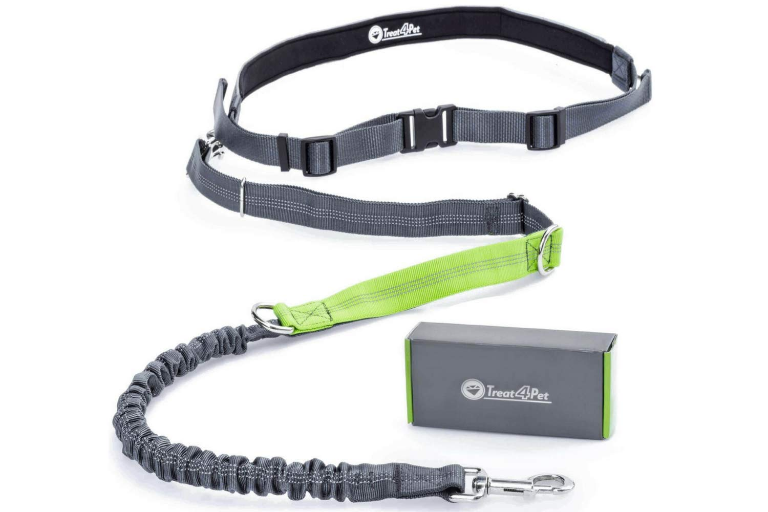 Treat4Pet Premium Hands Free Dog Leash for Running, Comfortable Waistbelt & Adjustable Length! Reflective Stitching & Control Handle. Retractable Shock Absorbing Bungee for up to 150 lbs Large Dogs. by Treat4Pet