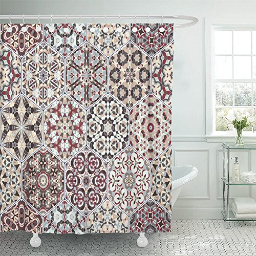 Emvency Shower Curtain 72x78 Inch Home Decor Rich Of Hexagonal Ceramic Tiles In Shades Red And Beige Colorful Oriental Style Print Fabric Bathroom Shower Hooks are ()