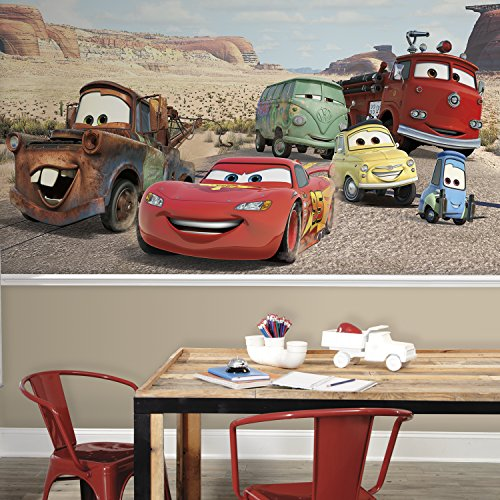 RoomMates JL1412M Disney Cars Desert XL Chair Rail Prepasted Mural, 6 x (Disney Cars Mural)