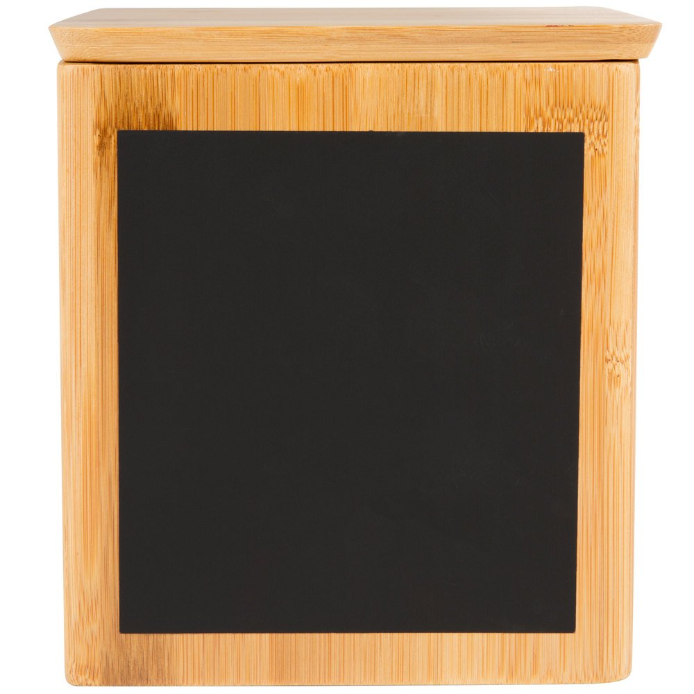Tablecraft RCBS667 Write-On 6'' x 6'' x 7'' Bamboo Square Polypropylene Lined Storage Container with Chalkboard Pack of 18 by TableTop King