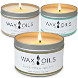Wax and Oils Soy Wax Aromatherapy Scented Candles (Cucumber Melon, Sandalwood, Peppermint Eucalyptus) 8 Ounces. 3 Pack