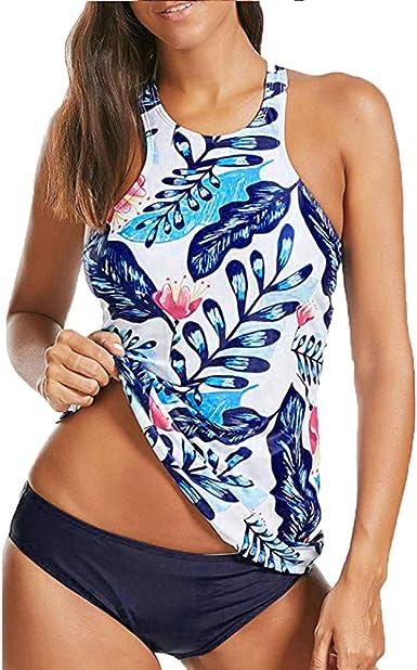 Womens Two Piece Retro Printed Tankini Swimsuits Tummy Control Swimwear with Boyshorts Bathing Suits