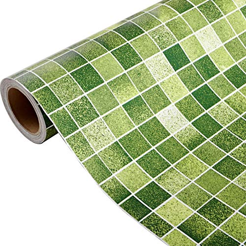Yenhome Green Mosaic Pattern Peel and Stick Wallpaper for Bathroom Waterproof Removable Wallpaper for Kitchen Backsplash Peel and Stick Wall Decals Vinyl Self Adhesive Shelf Liner Contact Paper