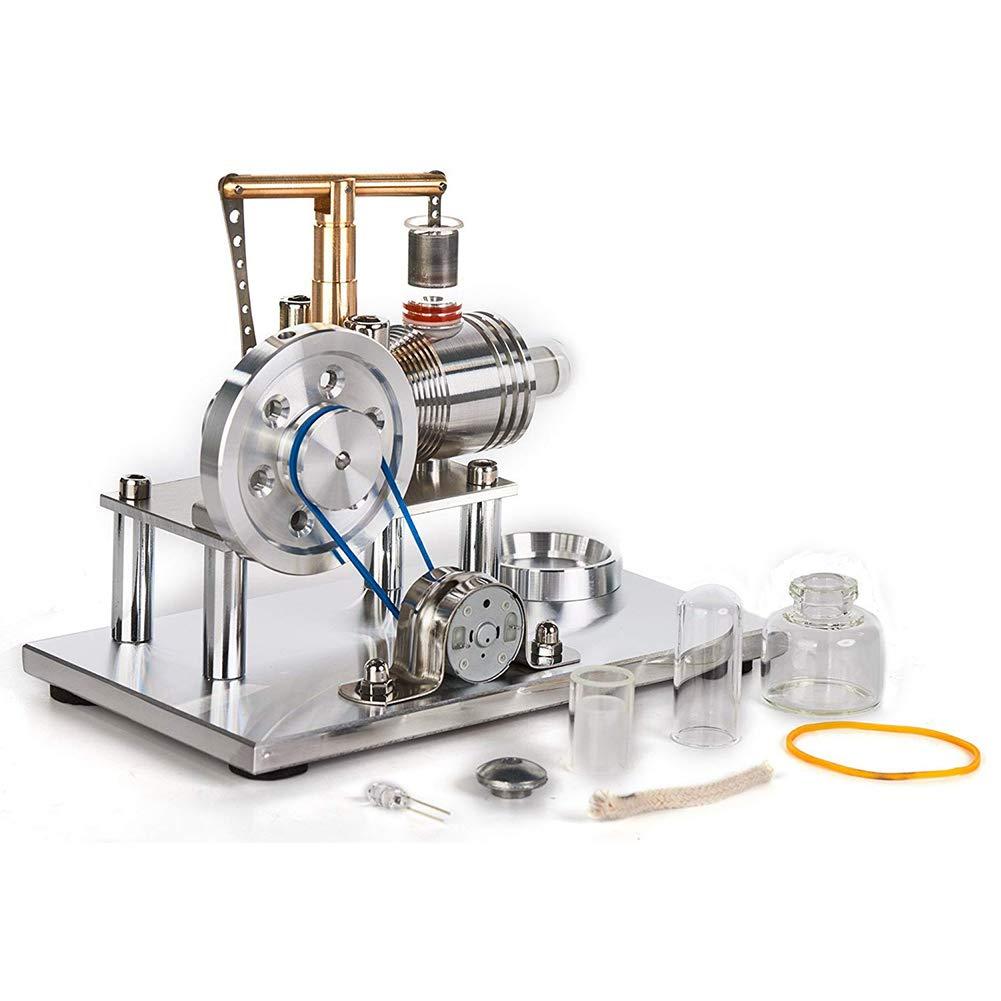 Hppteach Heißluft Stirlingmotor-Modell, Bunte LED Stirling Motor Pädagogisches Spielzeug, Stromgenerator, wissenschaftliches Modell mit LED-Licht Steampunk-Stil Ornament