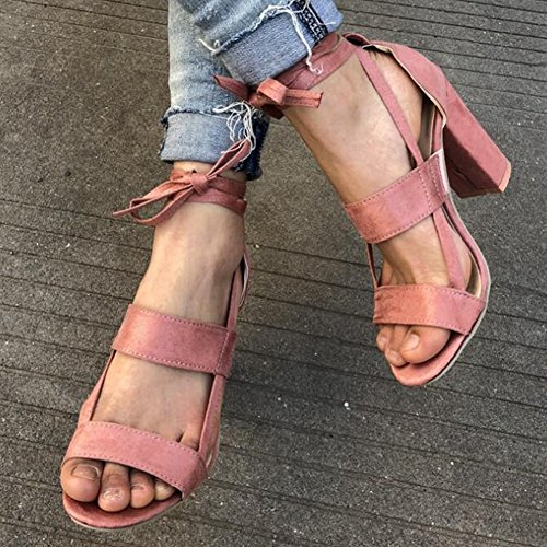 Hibote Women Sandals High Heel Peep Toe Ladies Lace up Ankle Tie Wrap Party Strappy Sandals Pink 5tjIN