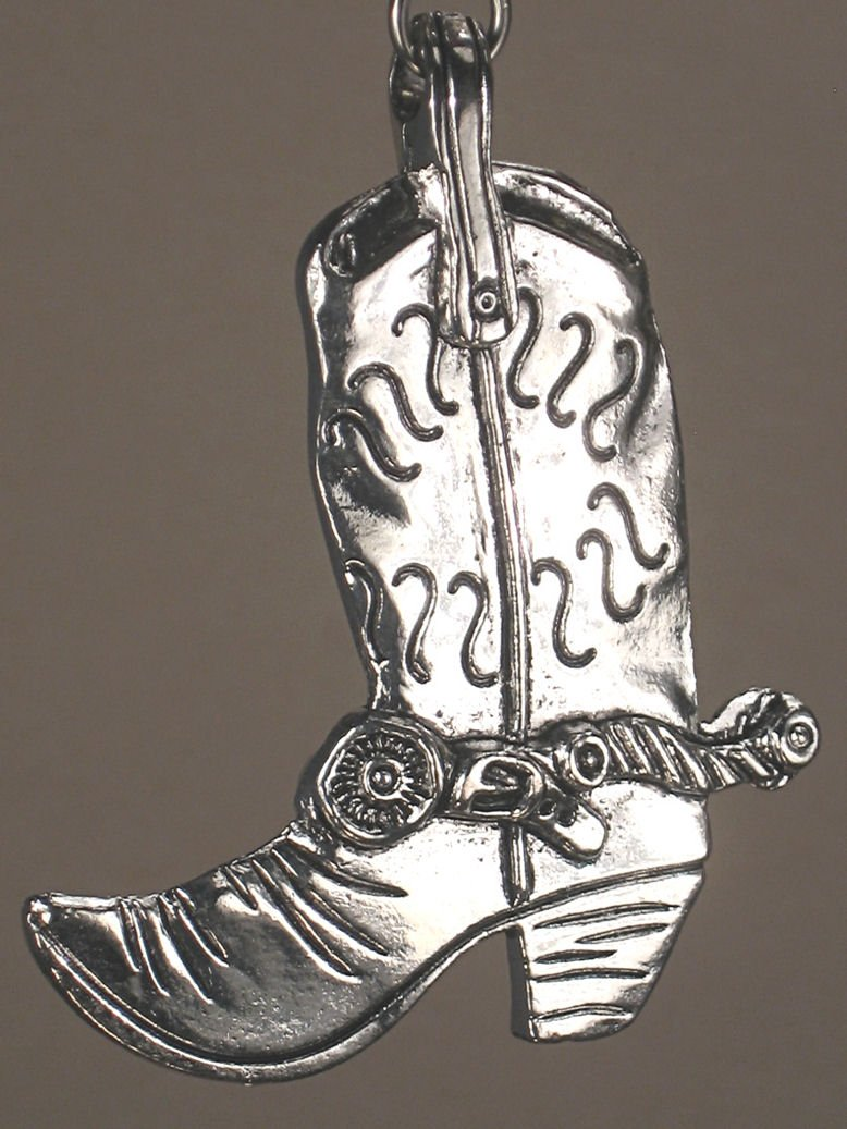 Rear View Mirror Car Accessory/Ornament Silvery Country Western Cowboy Boot