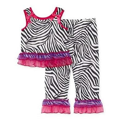 78addb6a991c Amazon.com  Laura Dare Zebra Print Pajamas Sleep Pants   Shirt with ...