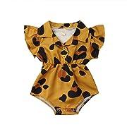 Toddler Newborn Infant Baby Girl Ruffle Blouse Romper Summer Cute Short Jumpsuit Clothes (Mustard Yellow(Leopard), 6-9 Months)