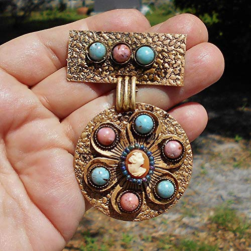 Pink & blued Beaded Cameo 60+ Year Old Brass Hammered Brooch with Patina, 9 Pink & Blue Marbled Focals with Tiny Hand Carved Pleasingly Plump Victorian Lady Shell Cameo added. - Jewelry Shell Clasp Cameo