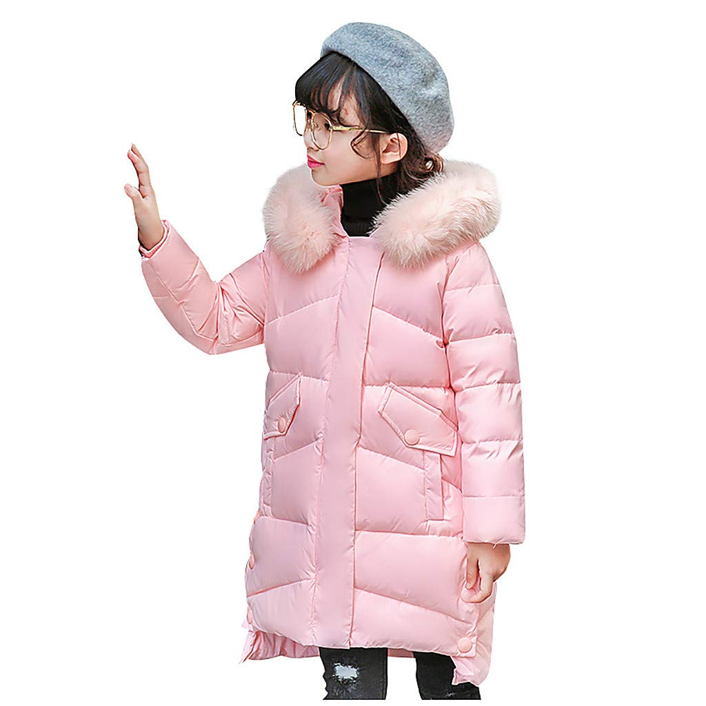 Sameno Kids Faux Fur Hooded Winter Snowsuit 4-12 T Toddler Baby Girl Down Suit Snow Coat Organic Cotton Jacket Outfit by Sameno baby clothing