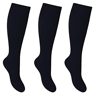 Bay 6 Kids Plain Cotton Rich Knee High School Socks 6 Pack White 12.5-3.5
