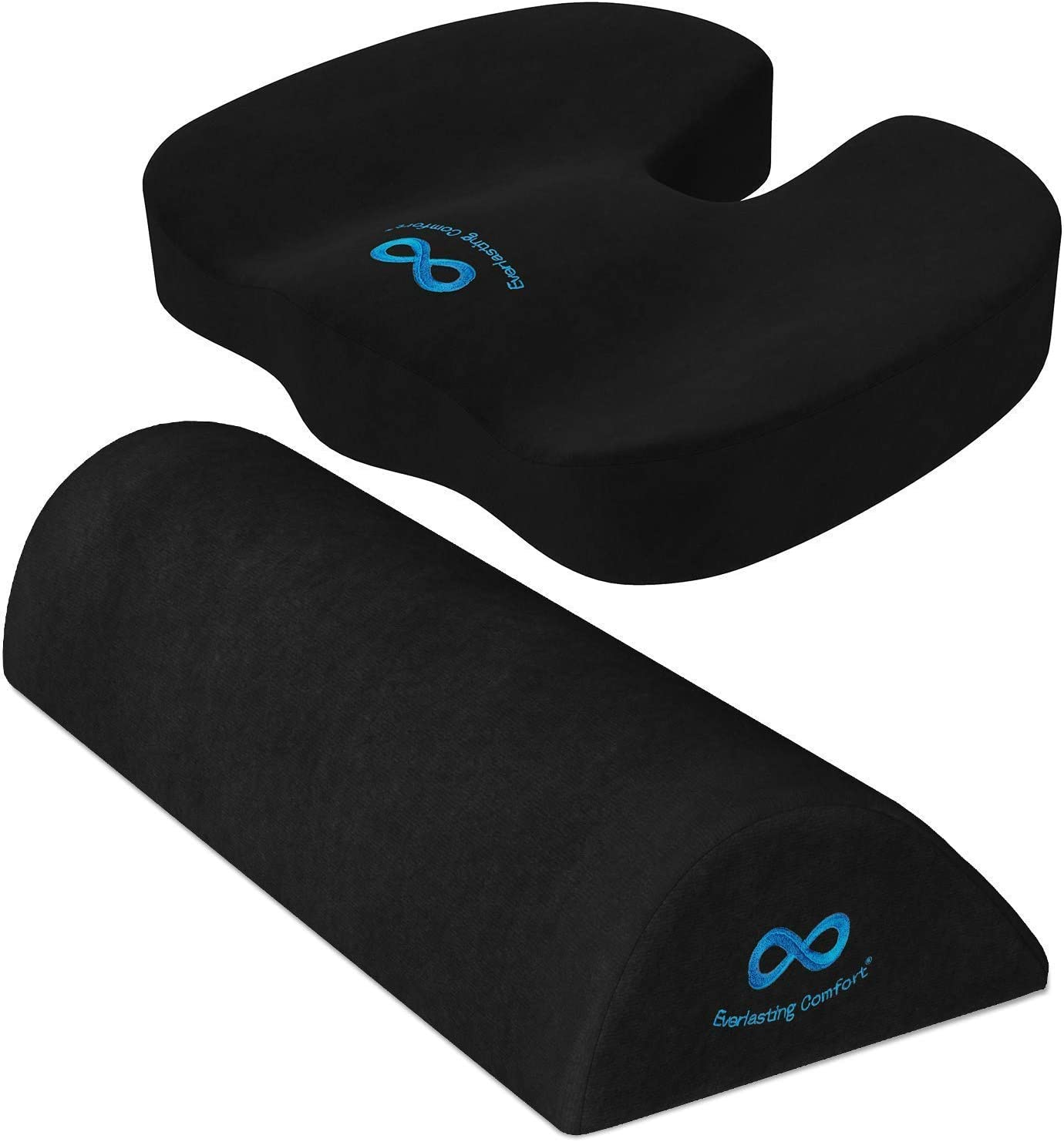 Everlasting Comfort Seat Cushion for Office Chair and Foot Rest Under Desk Bundle