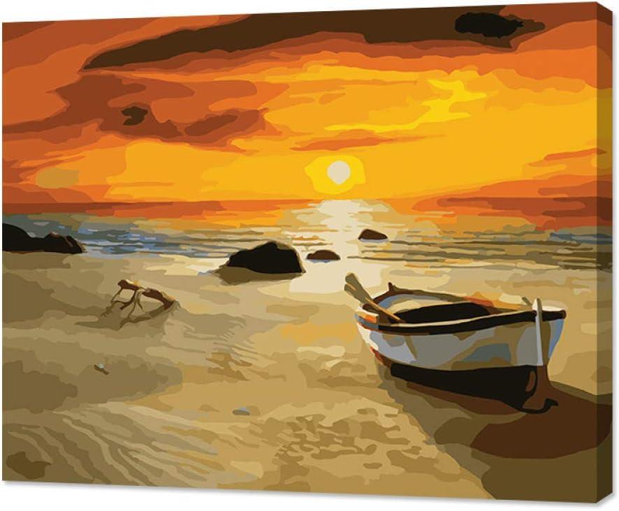 WOAILI Pintura al óleo Pinte por Number Kit Puesta de Sol Junto al mar Regalo para Adultos Niños Decoración navideña 16 * 20 Pulgadas Sin Marco de Madera