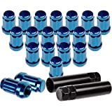 OCPTY Set of 20 Blue Wheel Lug Nuts + 2 Keys 12x1.5 Threaded Fastener