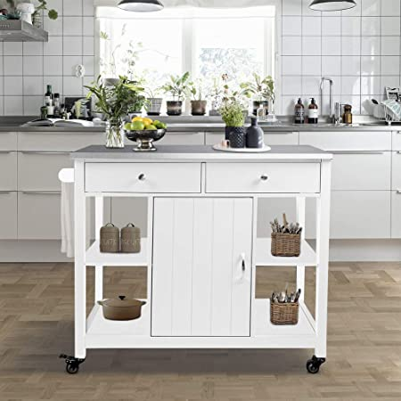 ChooChoo Kitchen Islands on Wheels with Stainless Steel Top, Utility Wood Kitchen Cart with Storage and Drawers, Easy Assembly – White