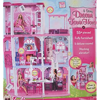 BARBIE 3 STORY DREAM TOWN HOUSE Playset Townhouse W 55+ PIECES, LIGHTS U0026  SOUNDS