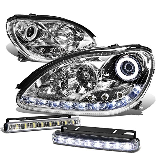 For Mercedes-Benz S-Class W220 Chrome Housing Halo Projector LED Headlight+DRL 8-LED Driving Light