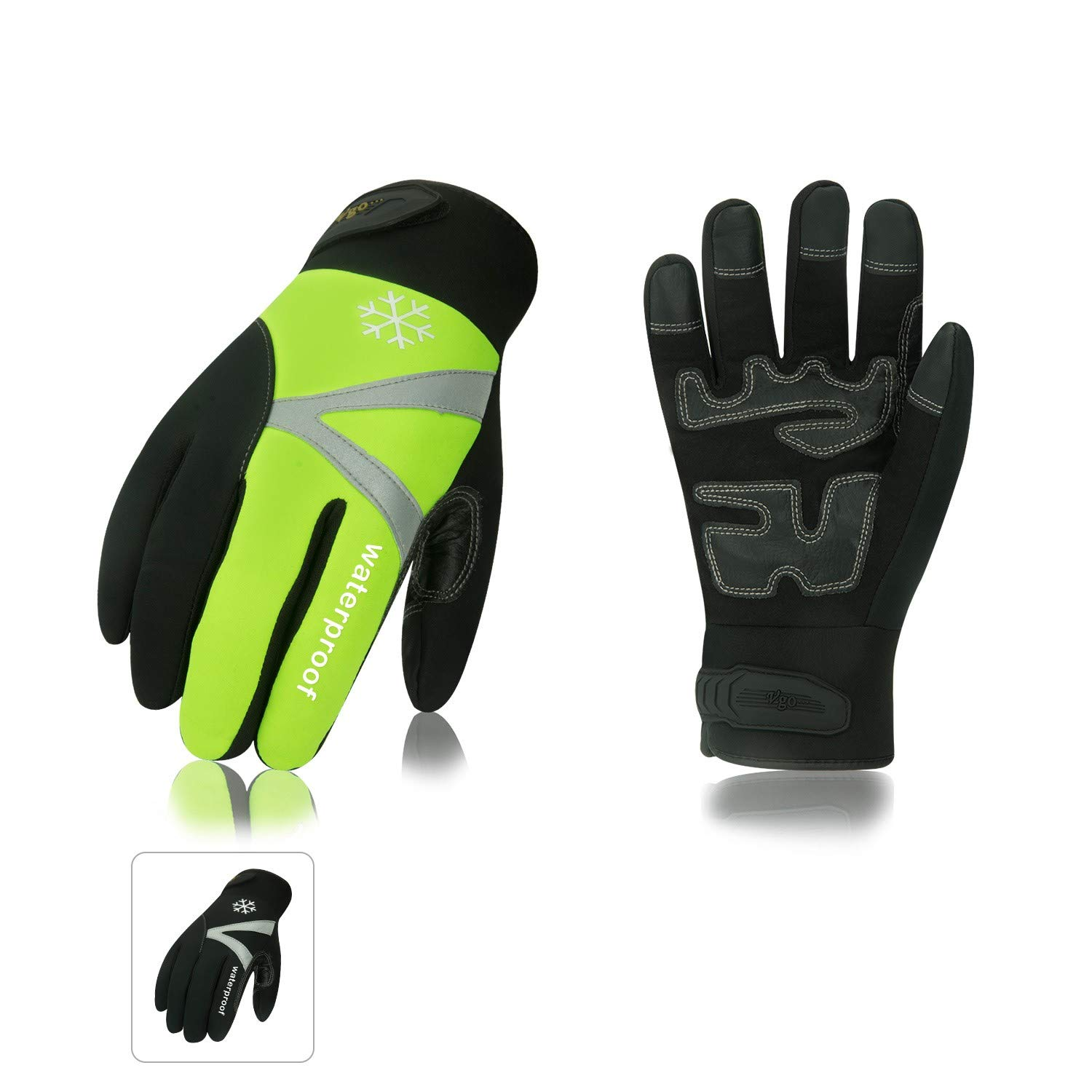 Vgo 2Pairs -4℉ or above 3M Thinsulate C100 Lined High Dexterity Touchscreen Synthetic Leather Winter Warm Work Gloves, Waterproof Insert (Size L, Black,Fluorescent Green,SL8777FW) by Vgo...